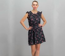 Layered with Love Women's Floral Print Dress, Black