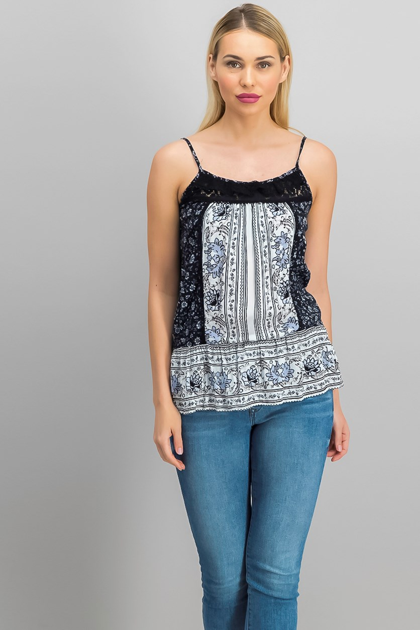 Women's Mixed Print Peplum Tank with Lace, Black