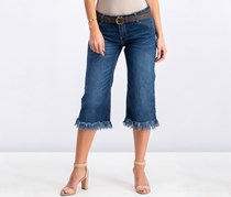 Pull & Bear Women's Frayed Hem Jeans, Blue washed