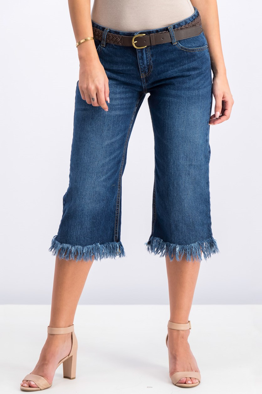 Women's Frayed Hem Jeans, Blue washed