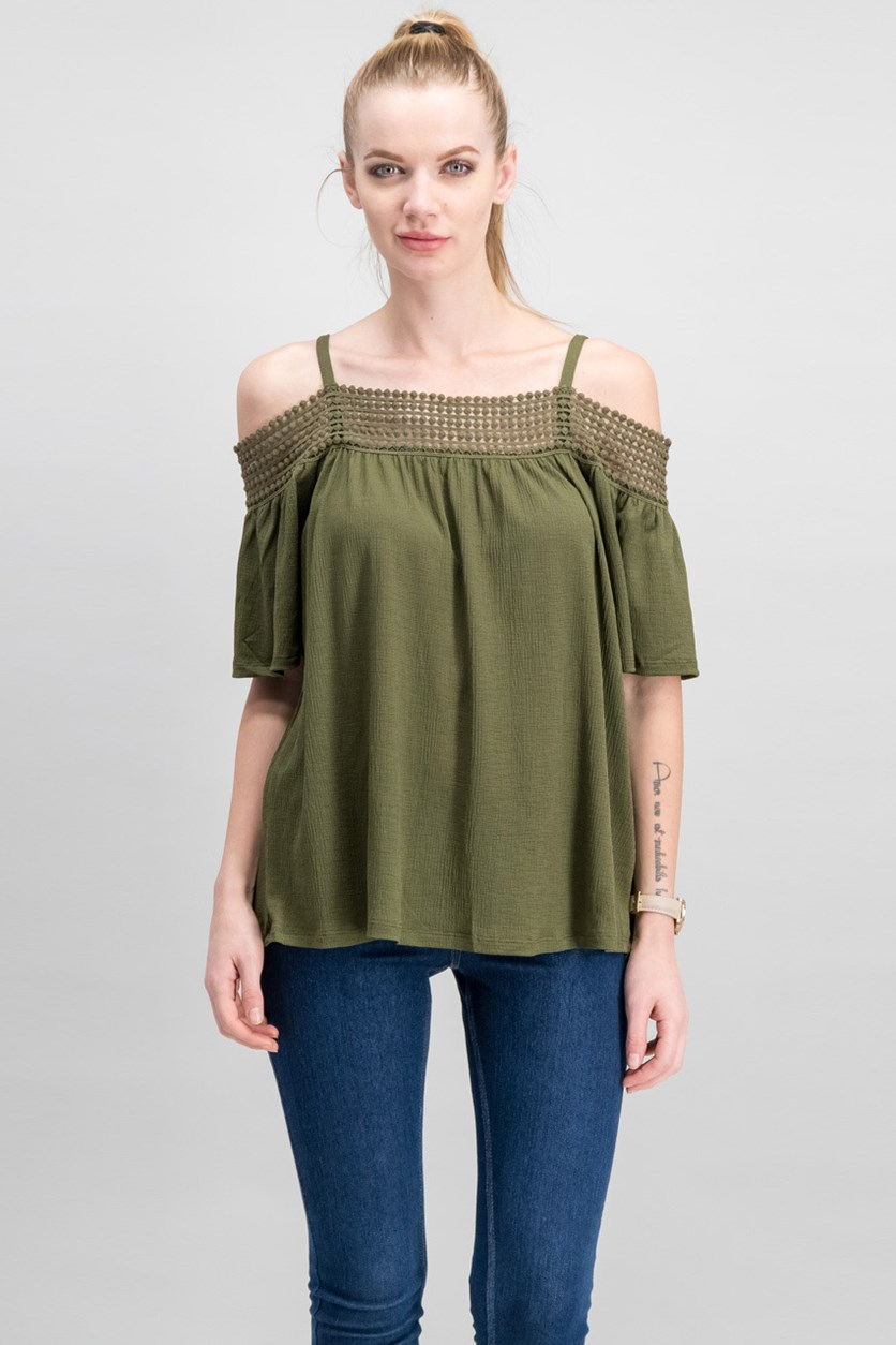 Cable Gauge Women Cold-Shoulder Top, Winter Moss