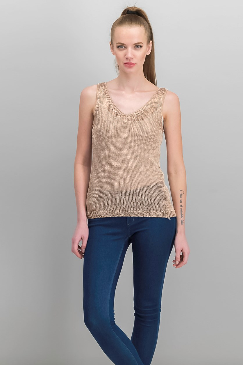 Women's Sleeveless V-Neckline Top, Rose Gold