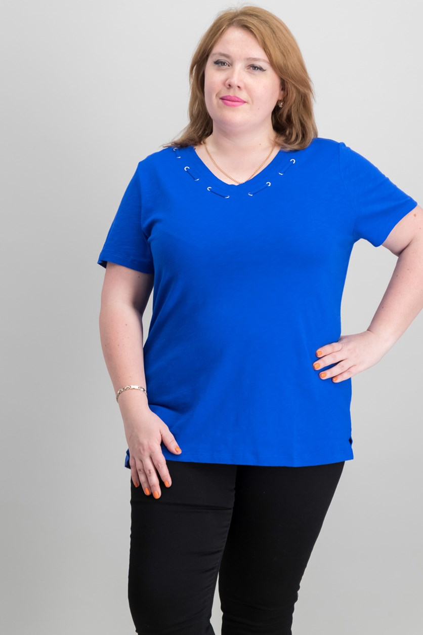 Cotton Grommet-Detail Top, Ultra Blue