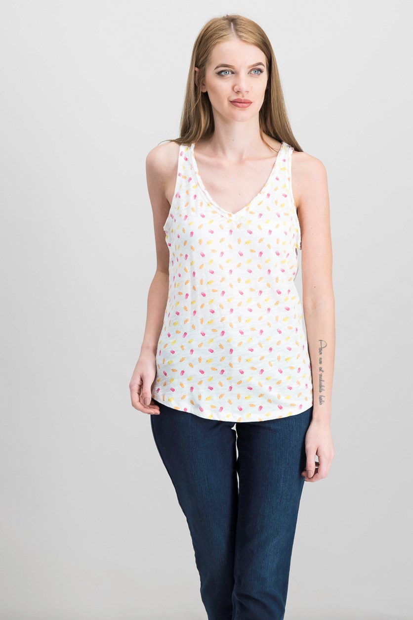 Cotton Popsicle-Print Tank Top, Bright White Combo
