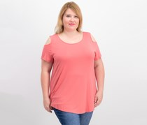 Jm Collection Cold-Shoulder Swing T-Shirt, Dusty Coral