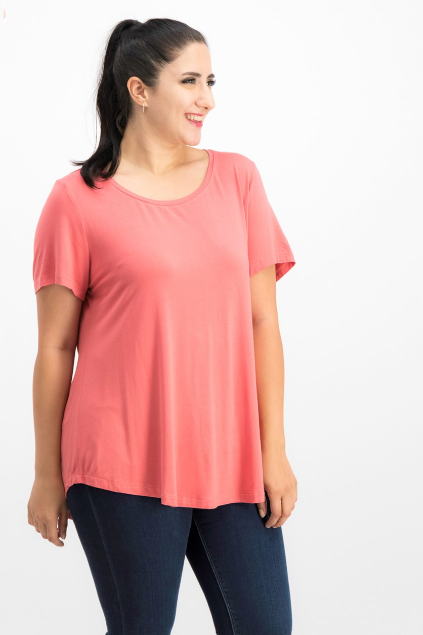 Scoop-Neck Top, Dusty Coral