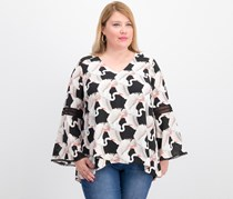 Alfani Plus Size Printed Poet-Sleeve Top, Great Heron