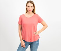 Jm Collection Petite Short Sleeve Top, Dusty Coral