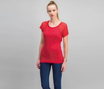 International Concepts Studded Illusion T-Shirt, Real Red