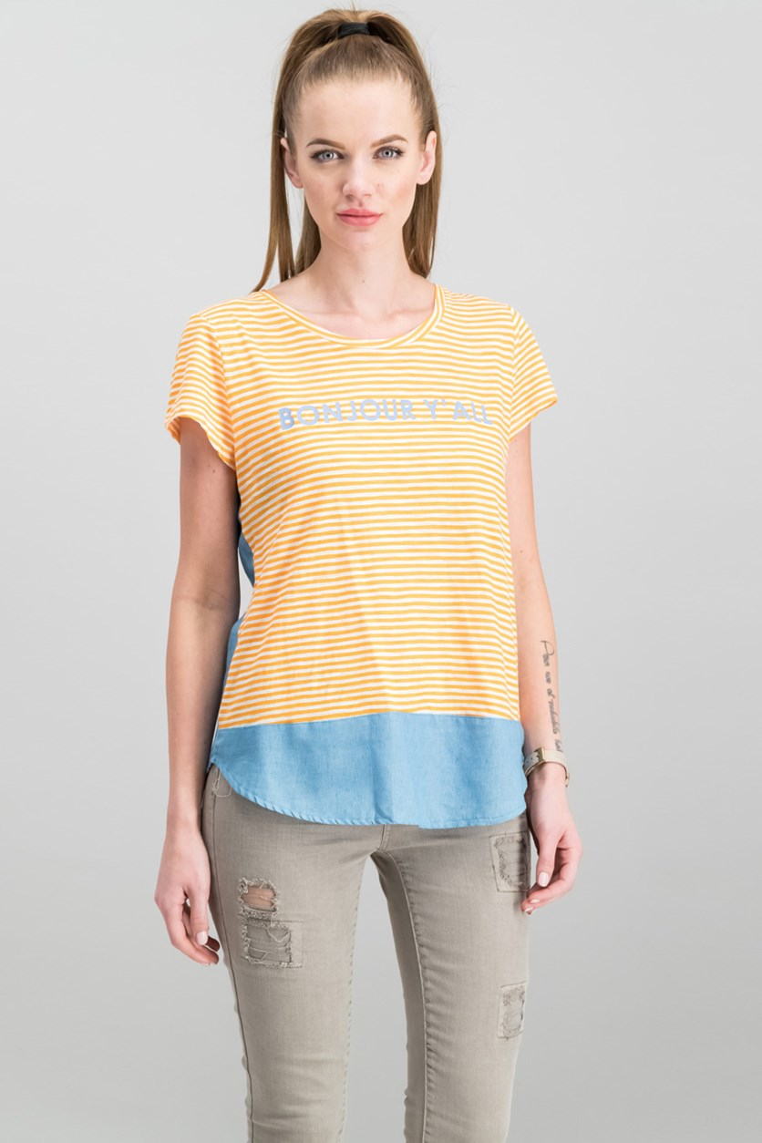 Bonjour Graphic Top, Orange Combo