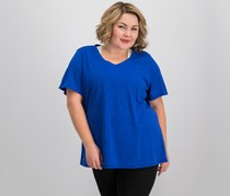 Ideology Plus Size Essential V-Neck Performance T-Shirt, Blue