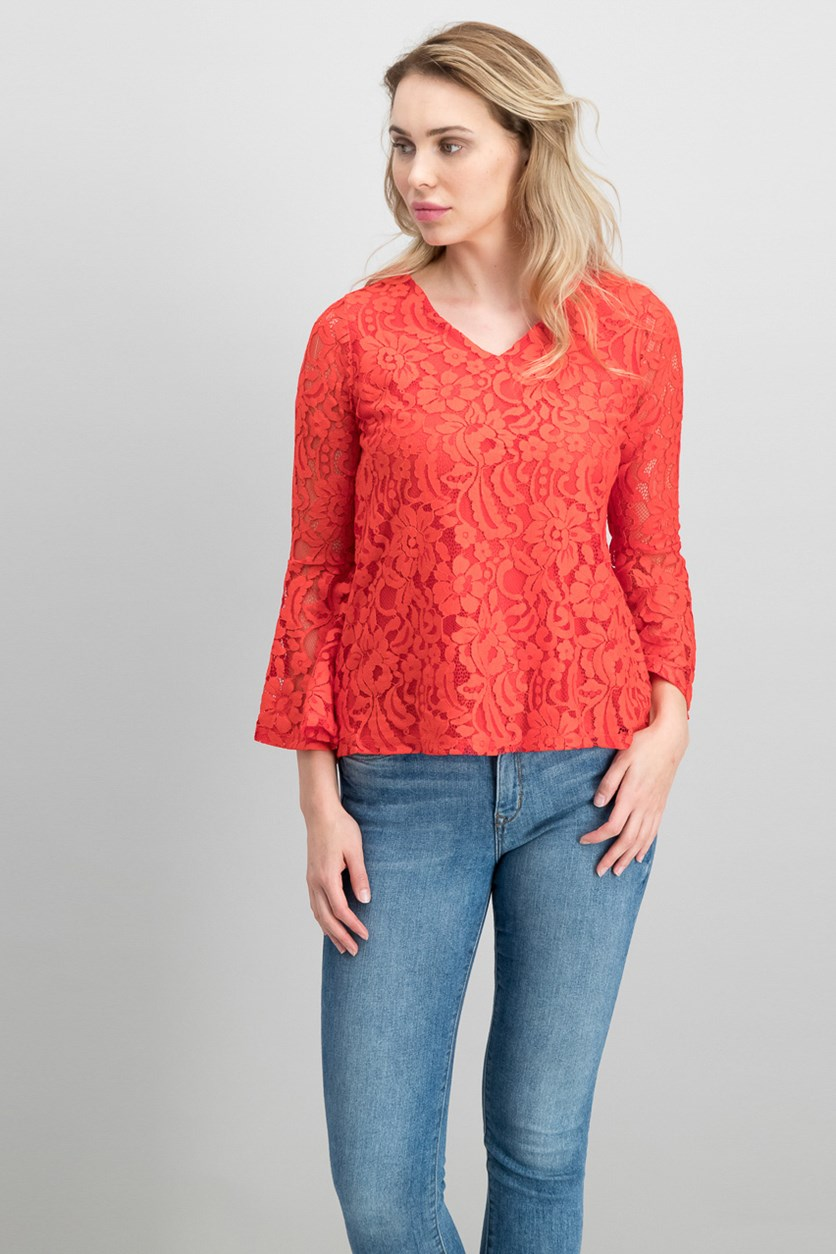 Petite Lace Bell-Sleeve Top, Cherry Bliss