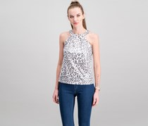 Inc International Concepts Petite Metallic Leopard-Print Halter Top, Grey/Ivory