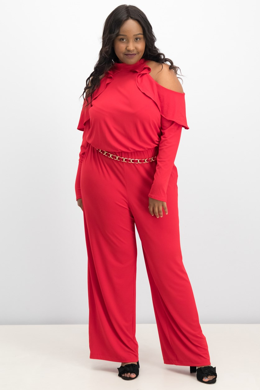 Women's Belted Cold-Shoulder Jumpsuit, Red