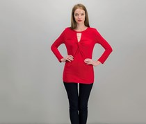 International Concepts Twist-Front Keyhole Top, Red
