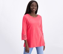 Charter Club Women's Cotton Lace-Trim Top, Coral Flash