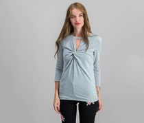 INC Twist-Front Keyhole Top, Heather Belle Grey