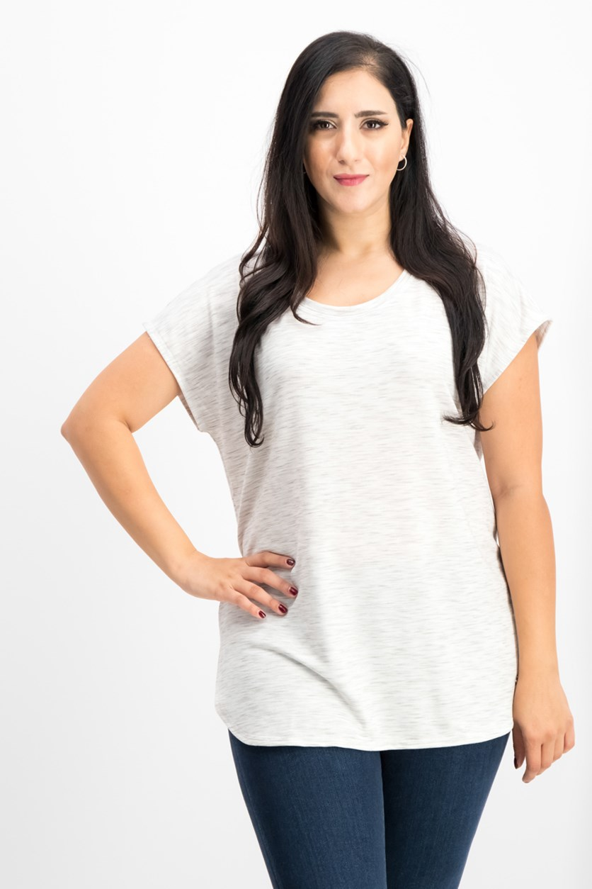Women's Space-dyed Lace-up Back T-shirt, Bright White/Grey
