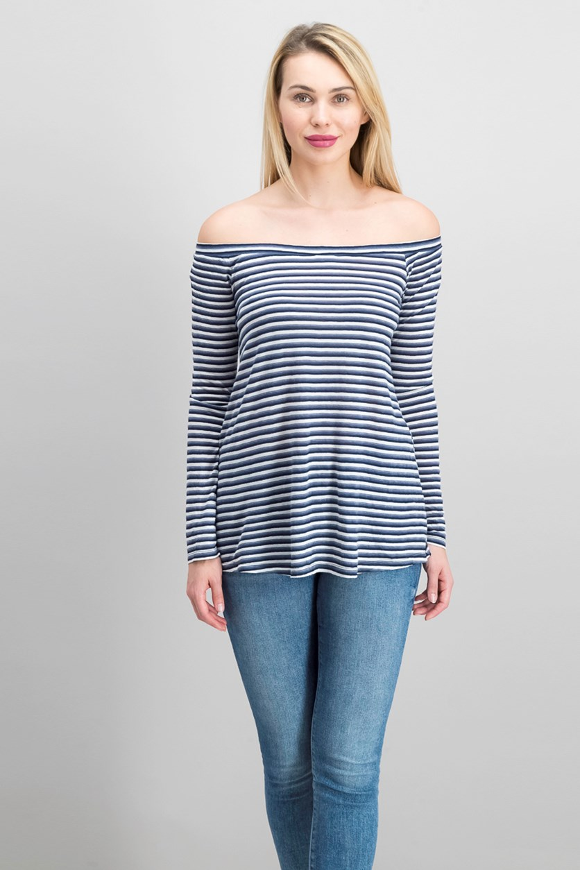 Women's Stripe Top, Navy Blue