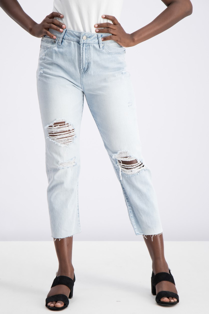 Juniors' Charlie High-Rise Straight-Leg Jeans, Blue Wash