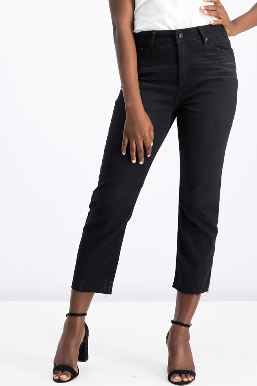 Juniors' Charlie High-Rise Straight-Leg Jeans, Black