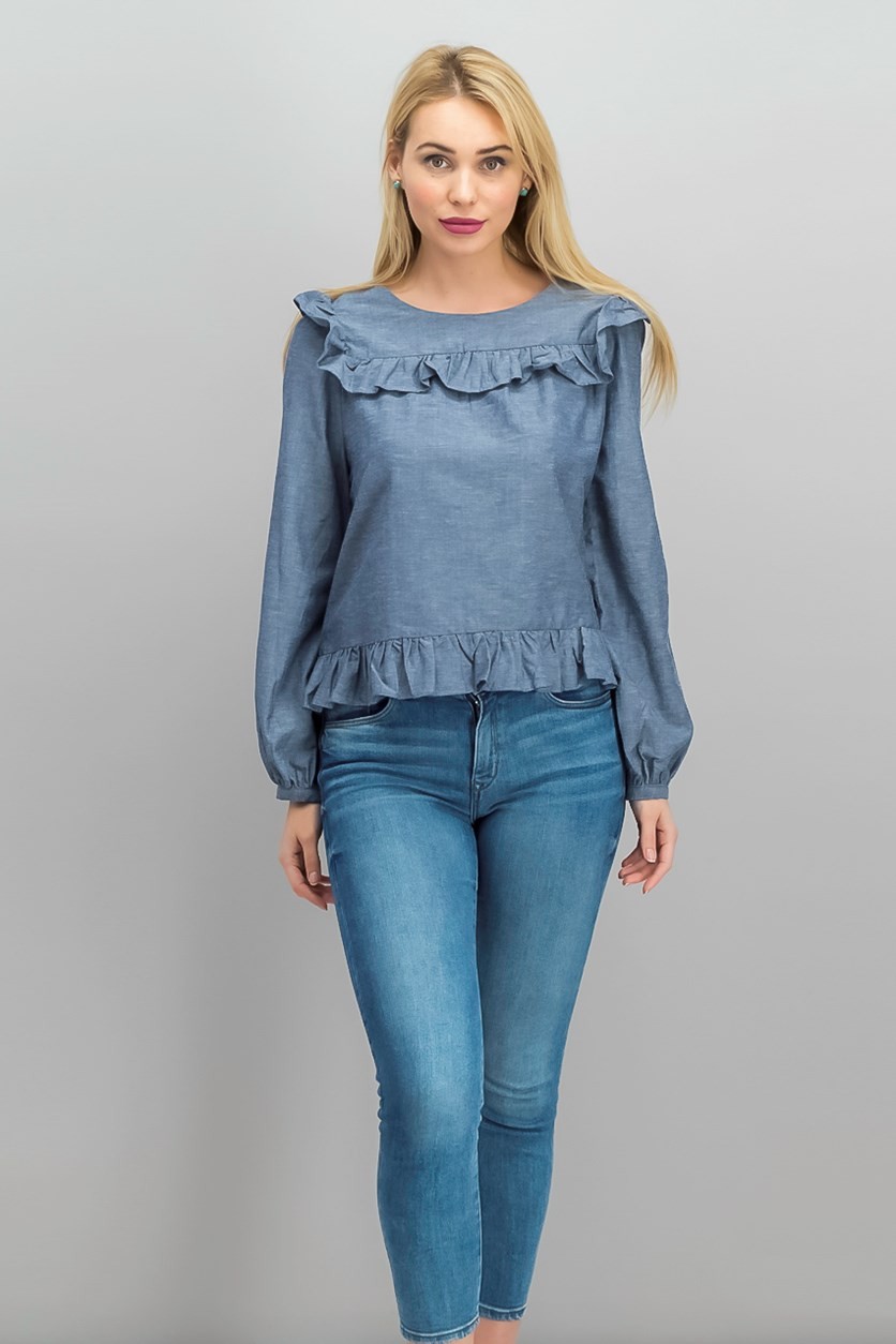 Ruffled Top, Chambray