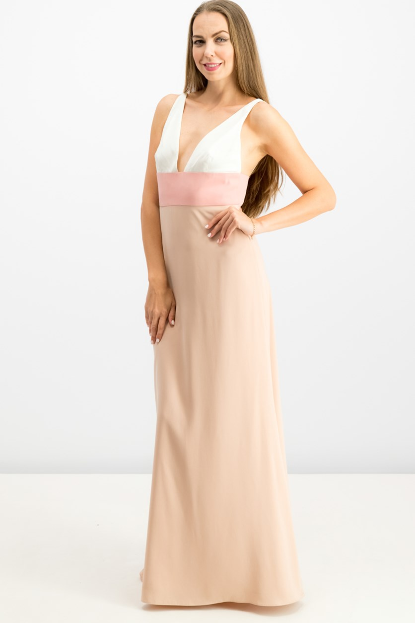 Women's V-Neck Color Block Gown, Pink Rose