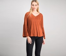 Style & Co Studded Faux-Suede Top, Rich Auburn