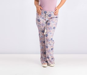 Women Juniors Lace-Up Soft Pants, Blush/Sky Combo