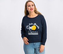 Chrldr Women's Graphic Print Long Sleeve Top, Navy