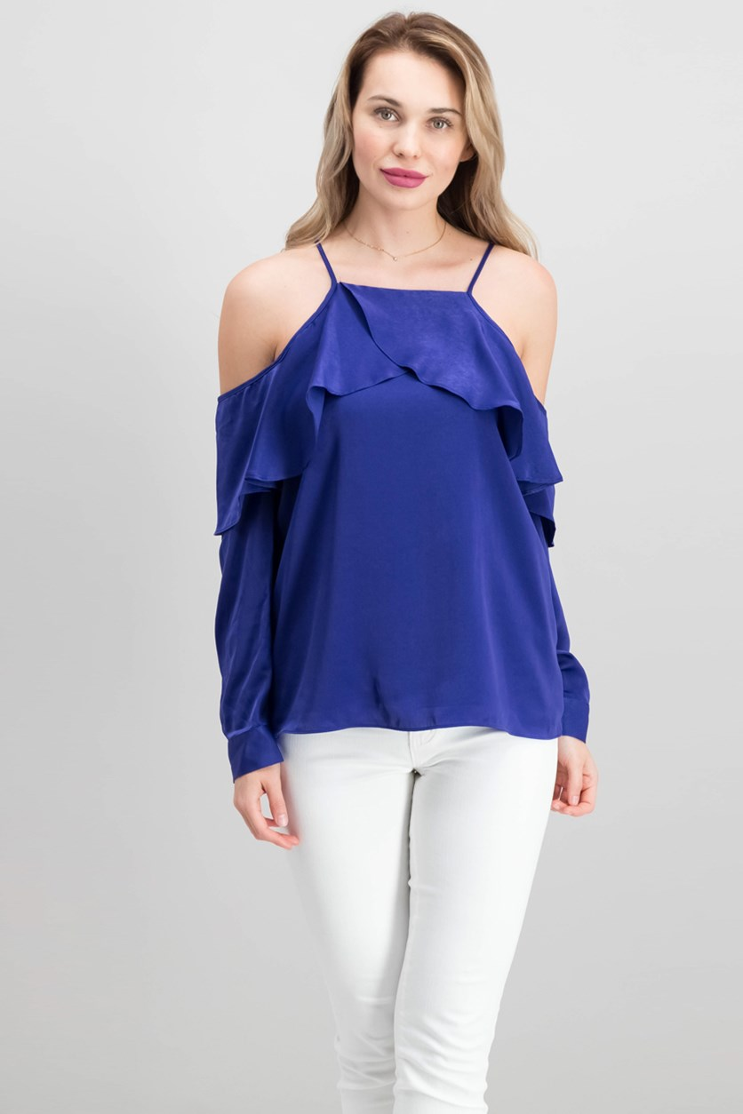 Women's Cold-Shoulder Top, Deep Iris