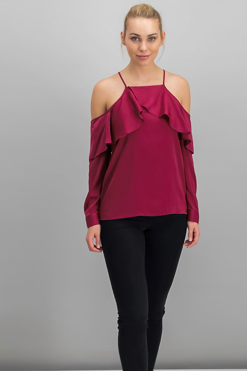 Womens Ruffled Cold Shoulder Top,  Berry Freeze
