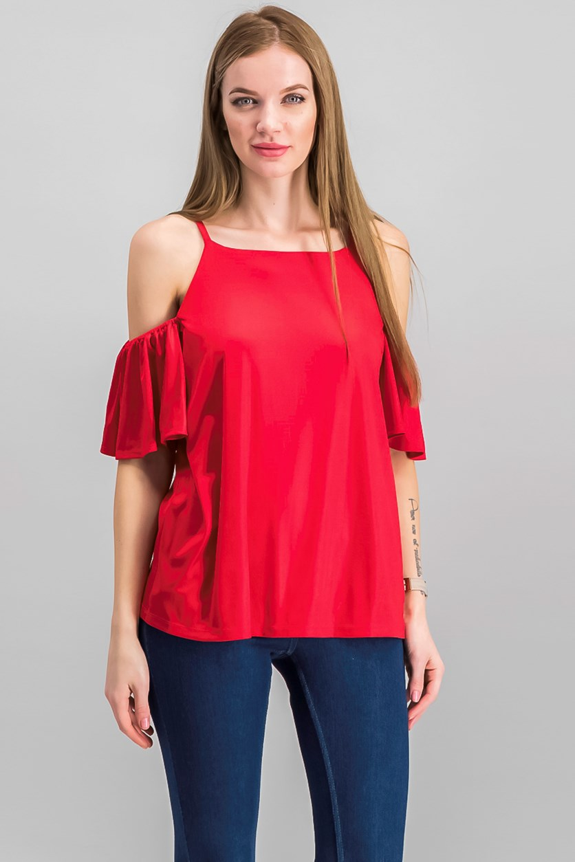International Concepts Cold-Shoulder Top, Real Red