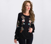 Anna Sui Loves Inc International Concepts Petite Embroidered Bell-Sleeve Top, Black