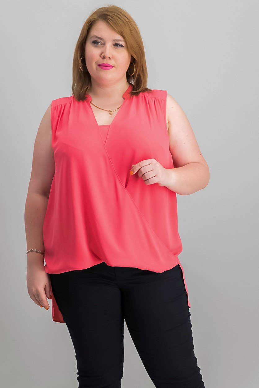 International Concepts High-Low Surplice-Neck Top, Polished Coral