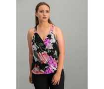 Women Floral-Print Surplice-Neck Top, Black Rose Luxe