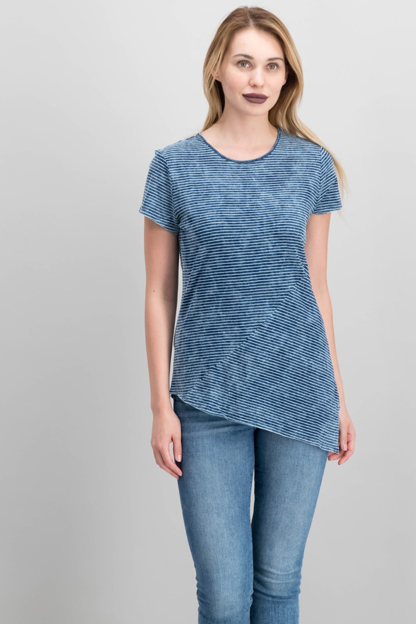 Women's Stripe Asymmetrical T-Shirt, Chambray Blue