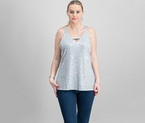 Inc International Concepts Metallic Cutout Top, Silver