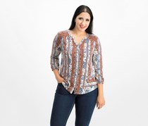 Style & Co Petite Mixed-Print Split-Neck Top, Ivory Batik