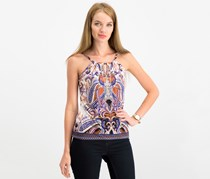 INC International Concepts Petite Printed Embellished Key Hole Top, Imperial Dynasty