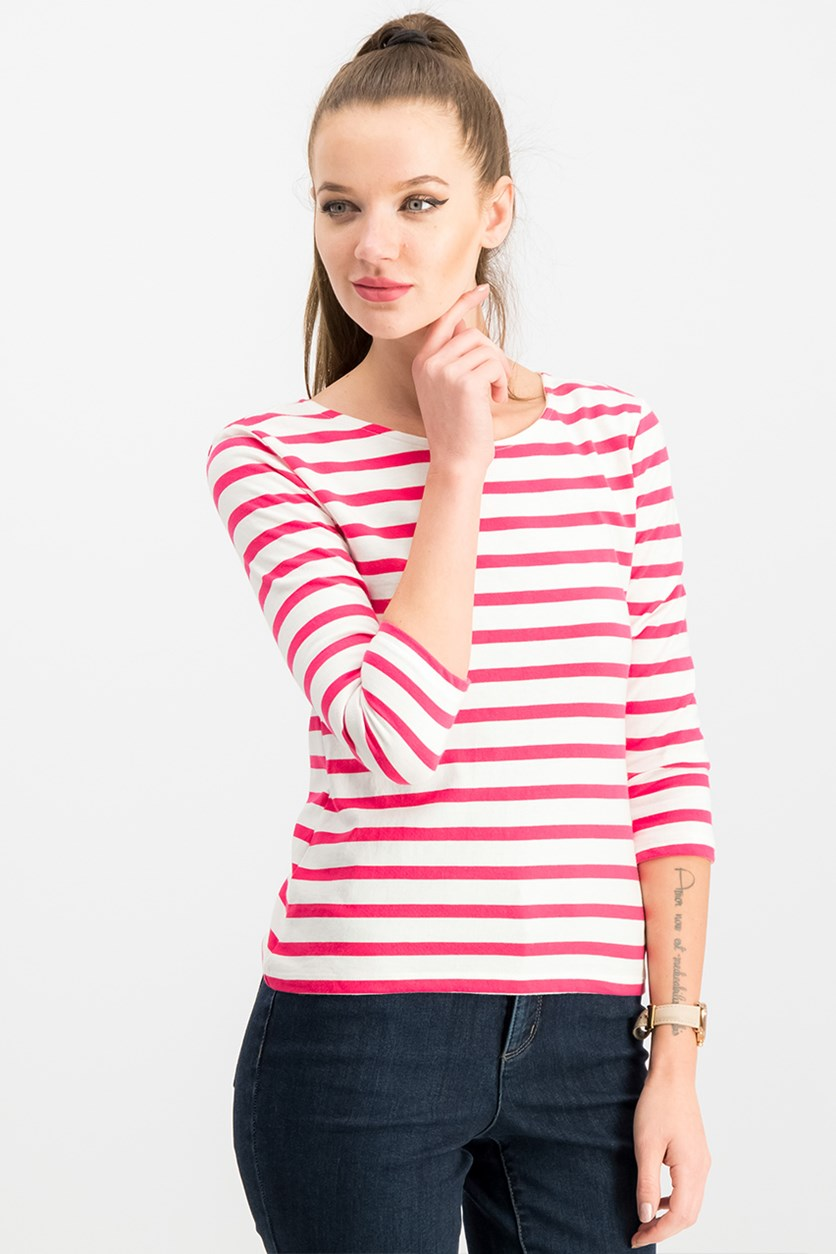 Maison Jules Cotton Striped Bow-Embellished Top, Cherry