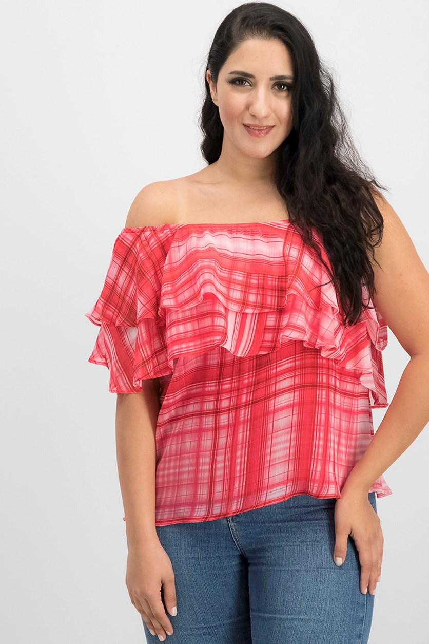 International Concepts Printed One-Shoulder Ruffled, Red