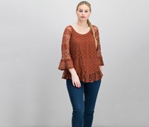 Style & Co Off-The-Shoulder Lace Top, Rich Auburn