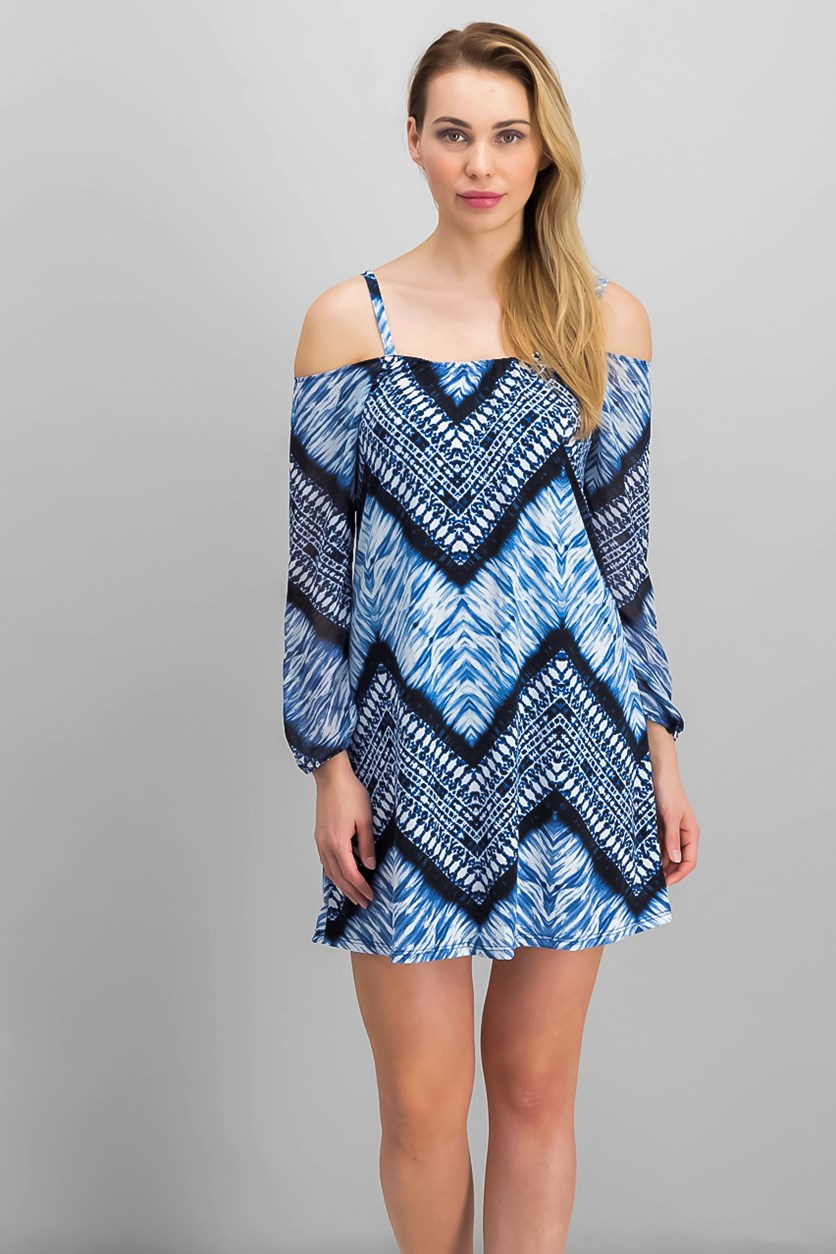 Petite Printed Off-The-Shoulder Dress, Blue/White Tribal