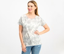 Ideology Women's Tie-Dyed Cutout-Back T-Shirt, Grey Wash
