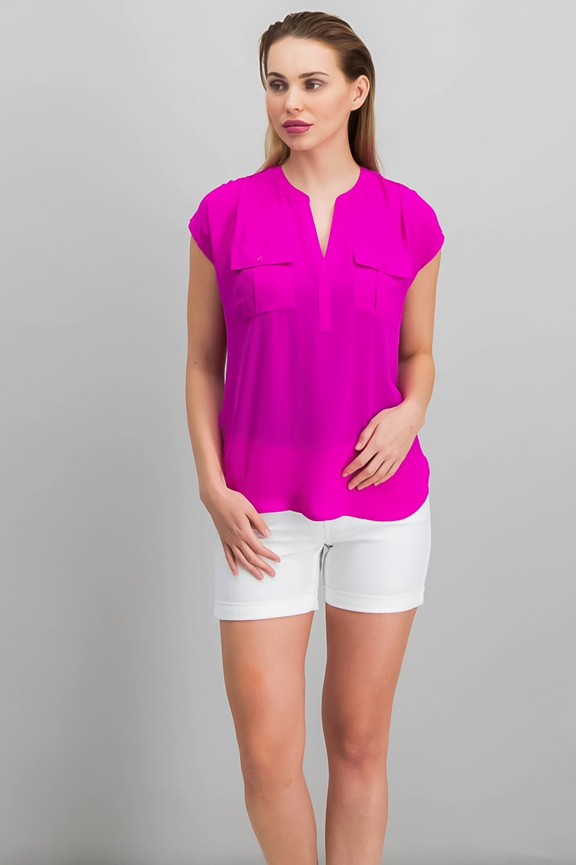 Women's Mixed Media Utility Shirt, Magenta