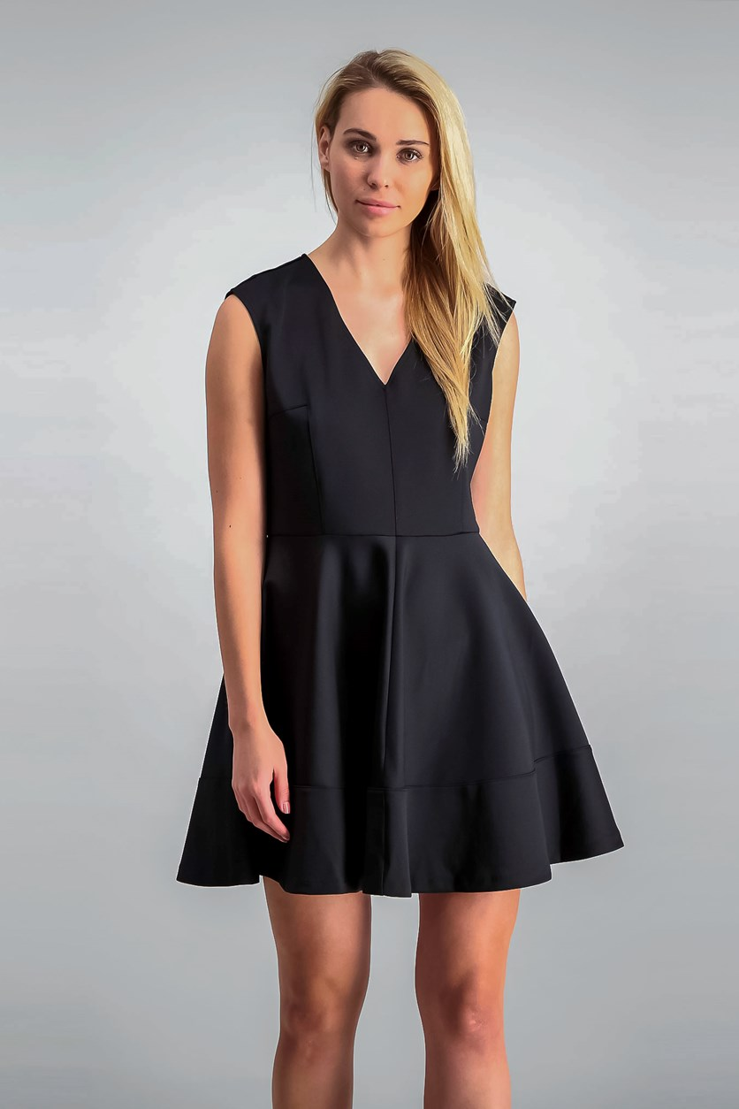 Women V-Neck Fit Flare Dress, Deep Black