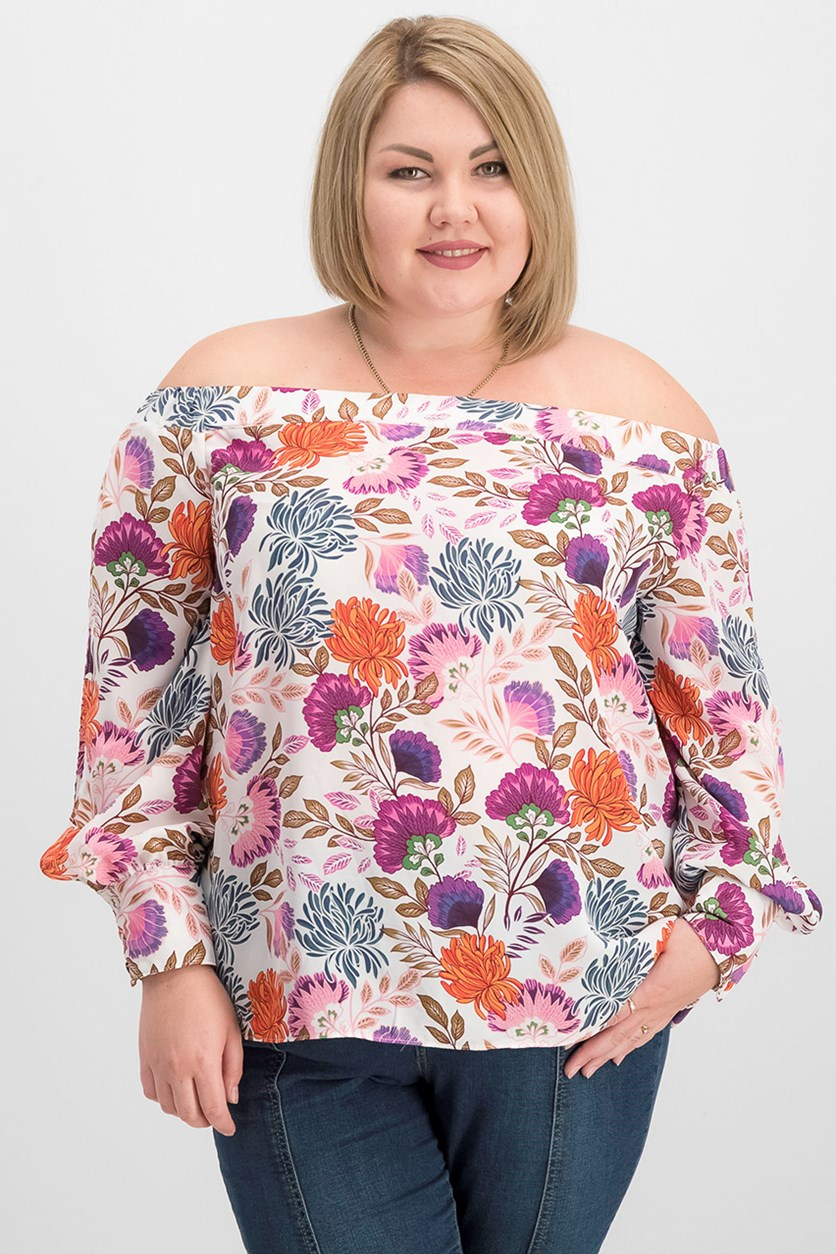 Women's Off Shoulder Blouse, Purple/Pink Combo