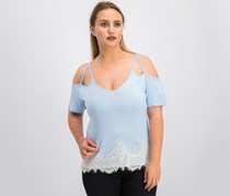 Self Esteem Juniors' Lace-Trim Cold-Shoulder Top, Chambray