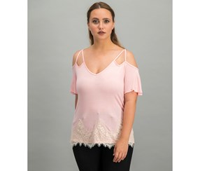 Self Esteem Lace-Trim Cold-Shoulder Top, Dusty Rose